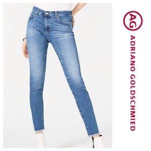 New AG Stevie Ankle Raw Hem Slim Straight Jeans 32